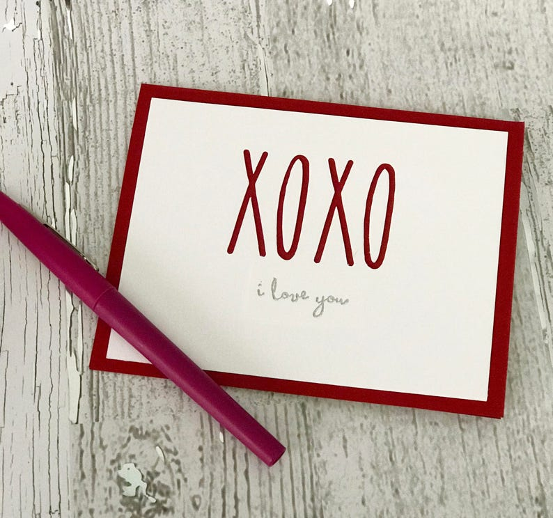 Valentine's Day Card  Love Card  XOXO Card  Rae Dunn image 0