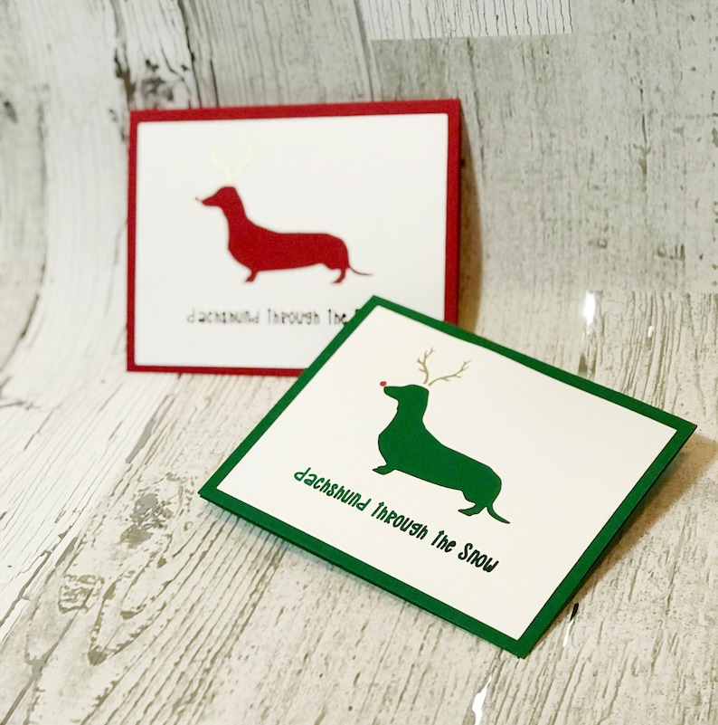 Dachshund Through The Snow Christmas Card  Dachshund image 0