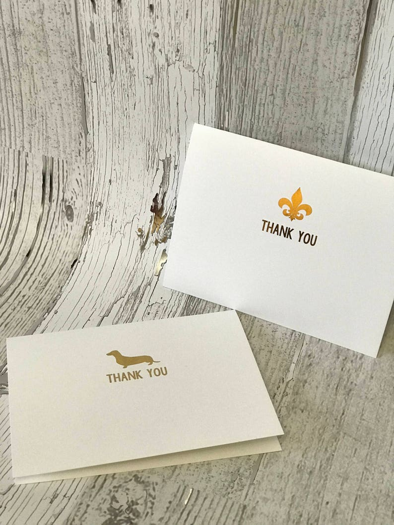 Dachshund or Fleur de Lis Thank You Note Card Set image 0