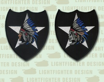 """Pair of 2nd Infantry Division /""""Indian Head/"""" and Indian Skull Head/"""" patches 2ID"""