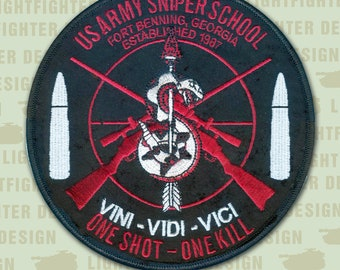 """5"""" United States Army Sniper School patch - One Shot, One Kill - Fort Benning - Army Sniper - Scout Platoon - Army Recon - Ranger - SF"""