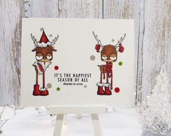 Funny Christmas card, Sarcastic Reindeer Xmas Card, The other side of Christmas, Funny wine Christmas card