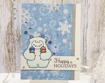 Yeti Christmas Card, Snowflake Xmas Card, Blue and Silver Christmas card, Happy Holidays Card, Julekort, Sparkle Christmas Card