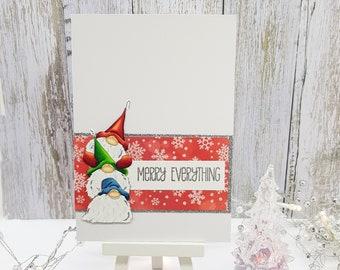 Gnome Christmas Card, Gnomes for Xmas, Garden gnome Christmas card, Norwegian christmas card, God jul, Julekort, Nissen julekort