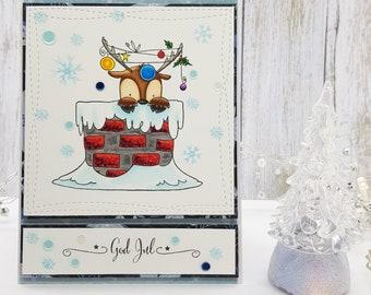 Reindeer Christmas card, Cute Christmas, Reindeer in chimney, Handcolored card, Reindeer with christmas lights, Adorable reindeer, julekort