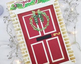 Red door Christmas card, Norwegian Jul, God jul, Front door, Brick house facade, Christmas wreath, Wreath on a door, Julekort, Handmade card