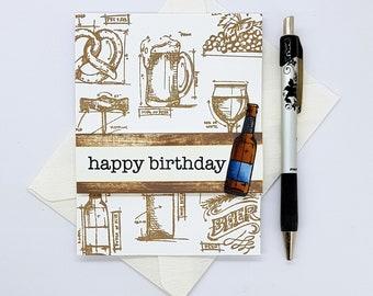 Happy Birthday Beer Card, Beer Card, Card for Him, Bottle of Beer Card, Beer Lover Card, Husband Birthday Card, Boyfriend Birthday Card
