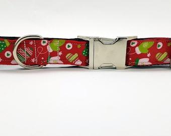 Winter mittens collar, Adjustable Christmas dog collar, Adjustable dog collar, M-L dog collar, Xmas mittens dog collar, Gift for dog owner