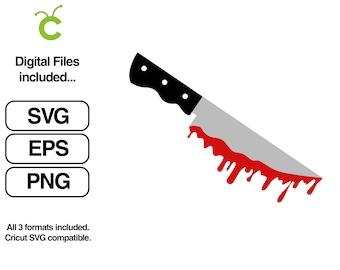 Knife, blood, bloody knife vector horror design SVG Instant Download Cricut svg, png, eps