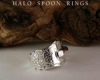 A Beautiful Sterling Silver Ornate Spoon Ring Assayed London 1875 Victorian