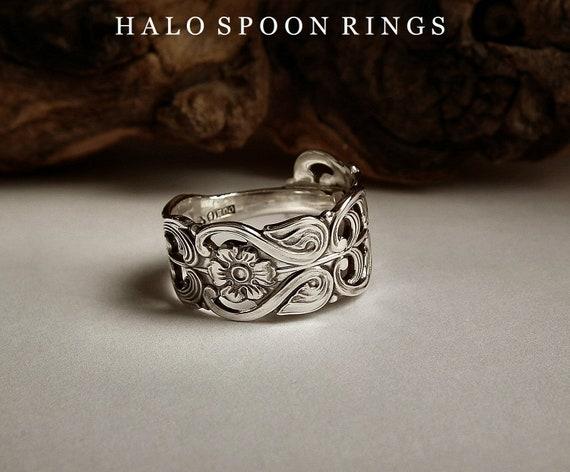 Handmade Vintage Ornate Sterling Silver Spoon Ring Hallmarked 1958
