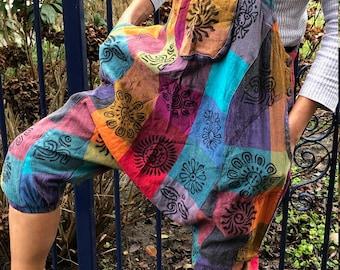 Funky animal print dungarees romper jumpsuit overalls safari elephant hippie hippy boho