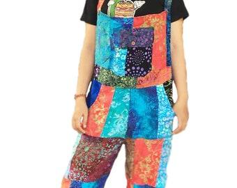 Colourful Tie Dye Peace Dungarees Jumpsuit Funky Festivals Hippy Boho XS XXL