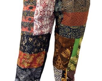 black RAYON BATIK drawstring pants HIBISCUS bali
