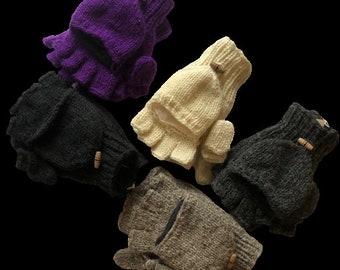 Plain Colours Handmade Knit Wool Lined Gloves Mittens Fingerless Shooter Nepal Unisex Mitts Boho Fingerless Gloves  Hippie Handwarmers