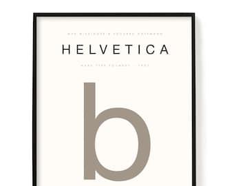 "Helvetica Typography Poster, Archival Print, Wall Art, Poster, Designer Gift, Graphic Designer, Interior Design, Typography Print, 24"" x 36"""