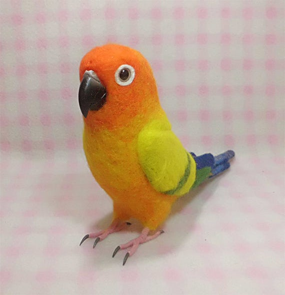 Sun Conure Wool Parakeet Stuffed Animals Etsy