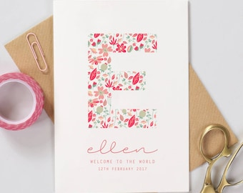 New Baby Card Personalised - Vintage Floral Print - Welcome To The World Baby Card / Personalised Baby Card / Greeting Card / Cards