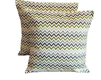 "10"" 12"" 14"" 16"" 17"" 18"" 20"" 22"" 24"" New Cushion Cover EucalyptusLime Green Grey Zig Zag Design 100% Cotton Handmade"