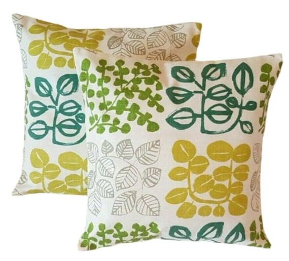 "14/"" 16/"" 18/"" 20/""  New Cushion Cover Twirl Indigo Blue Green Beige Design"