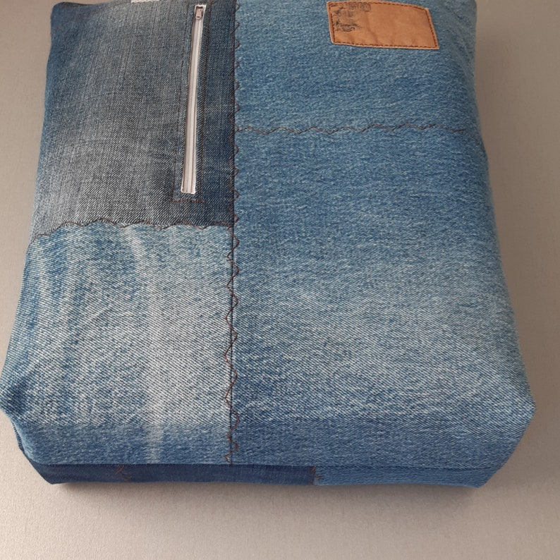Denim reusable shopping bag with pockets Upcycled jeans product Large canvas tote Insulated texture fabric basket Stranger things natural