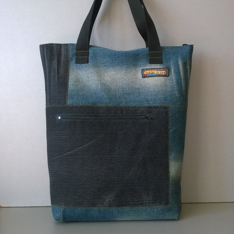 Hobo bag reworked natural fabrics Shopping jeans bag recycled textile product Large market tote denim basket with pockets one of a kind