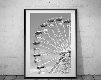 Kids Photography, Ferris Wheel, Home Decoration, Black-White Photo, Digital Print, Wall Art, Printable Poster, Digital Download, 2 JPG's