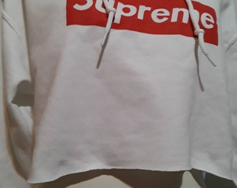 a76f6bf6068e0 Supreme hoodie white Supreme crop hoodie white hoodie hoodies  Supreme  Sweatshirt made in usa crop crop top Supreme Shirt