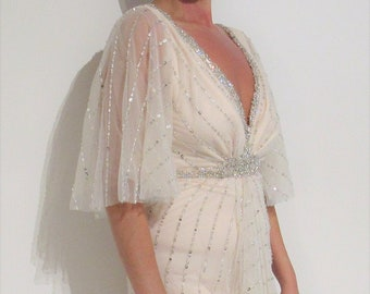 3bac417ed4 Yours & Mine Bridal Gown: Wedding Dress, Beaded, Blush Gown, Sequins Lace,  Flutter Sleeve, Deep V-Neck Gown, Rhinestone Belt