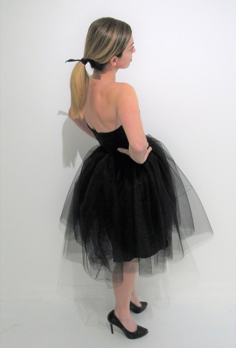 f0a61bbeec0d4 Yours and Mine Bridal Black Tulle Dress, Prom, Tutu Skirt, Strapless  Sweetheart Bodice, Bridesmaid Dress, Little Black Dress, Tutu Dress