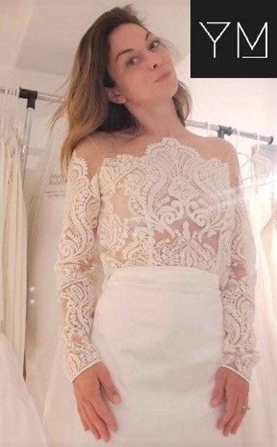 Boho Wedding Lace Wedding Dress top Custom Made to order Yours /& Mine Bridal Separates: Off White lace bodysuit