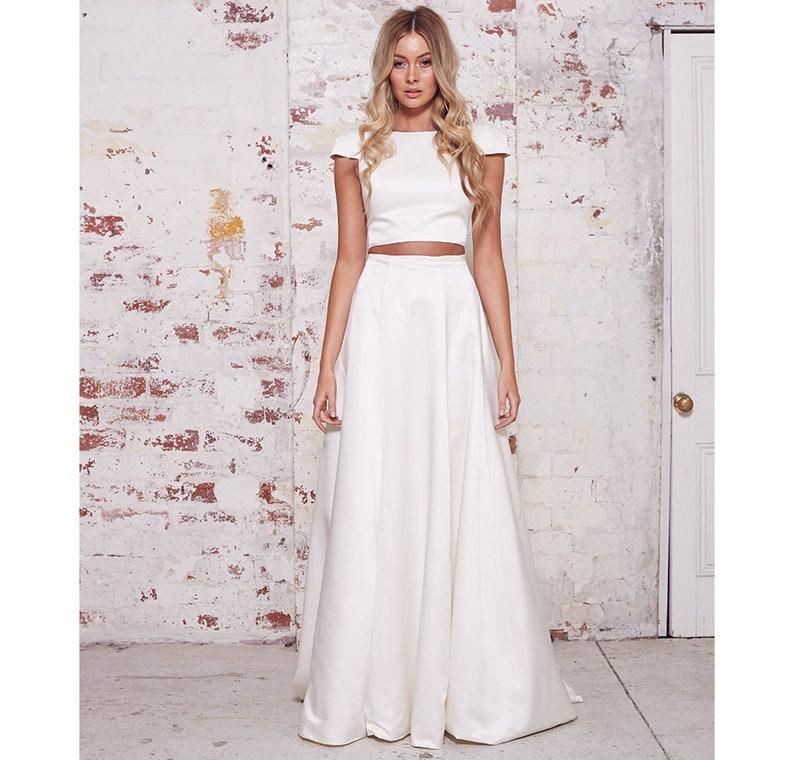 4e72e07ac40a17 Yours and Mine Bridal 2018 Satin Wedding Dress Two Piece