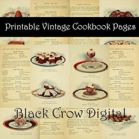Printable Shabby Aged Old Recipes and Cookbook Illustrations Vintage Cooking Baking Ephemera Digital Collage Sheets