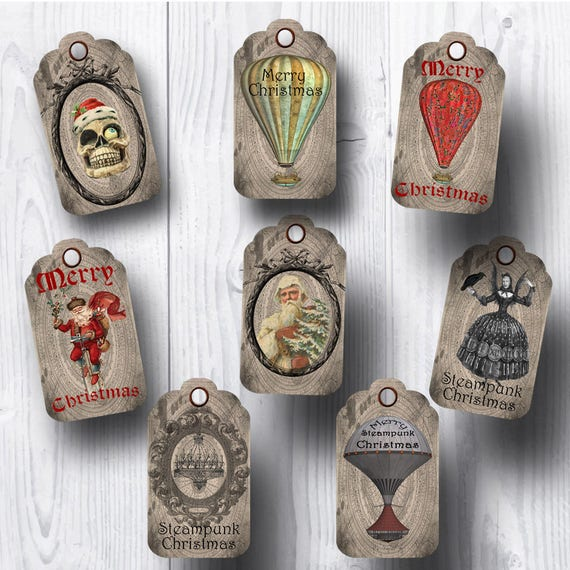 Steampunk Vintage Christmas Tags
