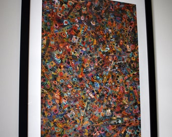 Abstract Framed Art, Mixed Media Wall Art, Acrylic Paint, Tissue Paper, Paper, Colorful Art, Abstract Acrylic Painting, Original Art
