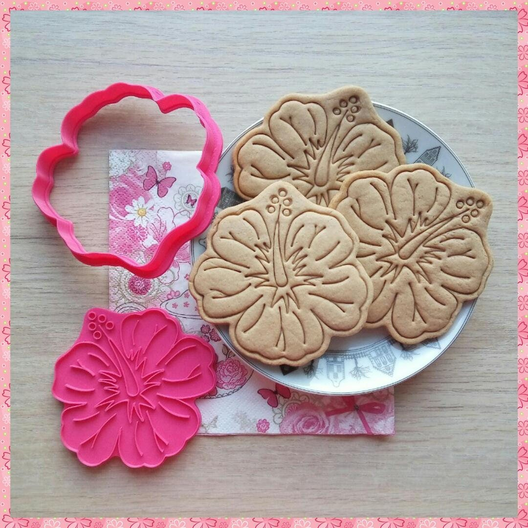 Hibiscus Flower Cookie Cutter 3d Printed Cutter Dough Etsy