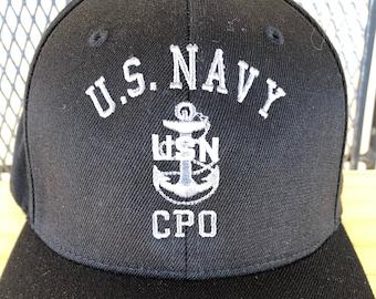 Retired Navy FlexFit Hat Chief Hat CPO Retired Chief Petty