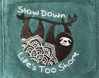Sloth tee, Sloth Mandala, Life's short, Hanging sloth, Short Sleeve Comfort Colors, Embroidered UNISEX Pocket Tee Shirt