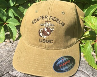 57f186f7771a21 USMC hat, Semper Fidelis, Military Green FlexFit Ball Cap, Marine Hat, EGA  embroidery