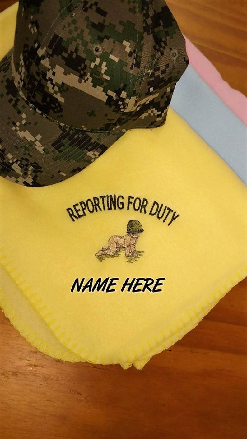 Marine Baby Blanket **Personalized FREE** Army Baby, Embroidered Blanket,  Reporting for Duty, Military Gift, Personalized Baby Blanket
