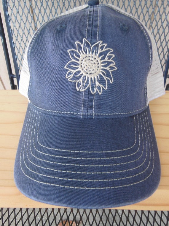 separation shoes 8d5f4 63874 Sunflower Hat Embroidered trucker hat Snap back hat Comfort   Etsy