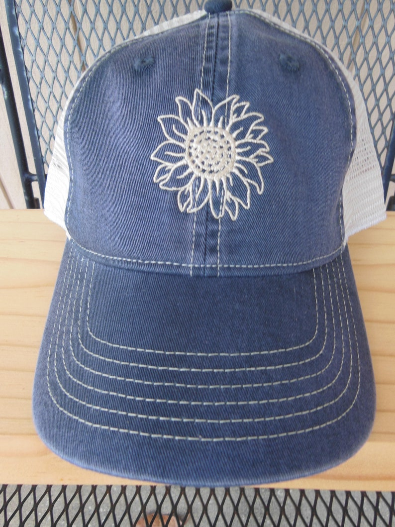 2ec6b6645 Sunflower Hat, Embroidered trucker hat, Snap back hat, Comfort Color hat,  Richardson 112 hat, Denim Hat, Ladies Daisy Hat