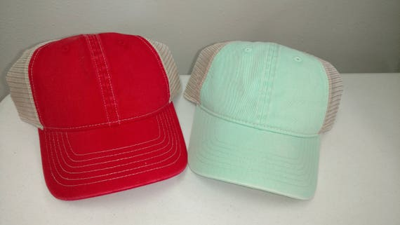 Monogram Hat Monogrammed Denim Trucker Hat Mesh Back Hat Comfort Color hat Embroidered Hat Adjustable Baseball Cap Beach Hair