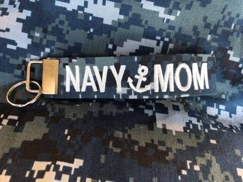 Military Name Tape keychain, Navy Pride, Navy Mom key fob, Love my Sailor, NWU Name Strip, Navy Wife, Navy Daughter