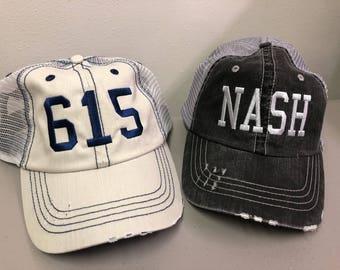 NASH hat, Area Code hat, ATL hat, JAX hat, Unstructured Embroidered Hat, Mesh Back Hat, Distressed Trucker Hat