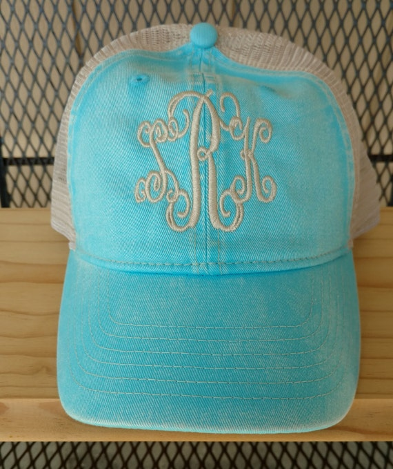 89d059852 Monogram Hat, Trucker Hat, Comfort Color hat, Embroidered Hat, Monogrammed  Denim, Adjustable Baseball Cap, Mesh Back Hat, Beach Hair