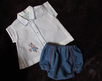 Vintage *Tiny Tots* Outfit 0-3m~Diaper top and diaper cover