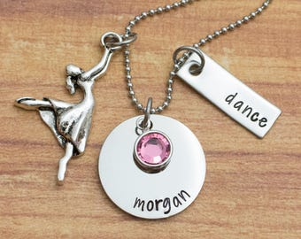 Personalized hand stamped ballet necklace - gift for dancer - stainless steel dance necklace - dancing necklace - birthstone - ballet gift