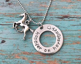 Hand stamped pewter horse necklace - gift for horse lover - horseback riding necklace - happier on horseback