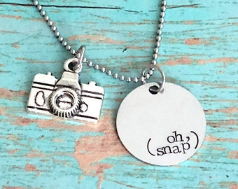 Oh snap camera necklace, photographer gift, camera charm necklace for women, photography jewelry, mamarazzi, photojournalist, best selling